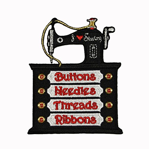 ID 0108 Sewing Machine Patch Retro Thread Sew Embroidered Iron On Applique