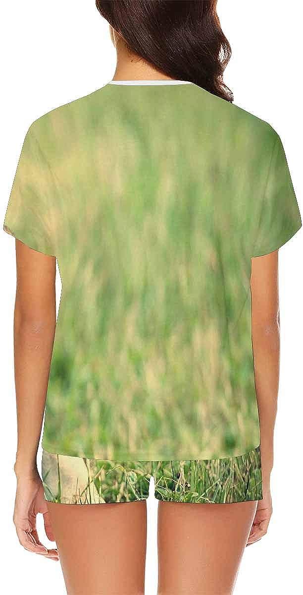 InterestPrint French Bulldog on Green Grass Women's Pajama Sets Short Sleeve Shorts - Pajamas for Women