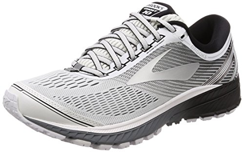 Brooks Mens Ghost 10 Running Shoe White/Silver/Black, 9