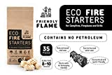 Friendly Flame Eco Firestarters for Campfire Fireplace Charcoal BBQ Grill Wood Pellet Stove Pizza Oven 35pcs Natural Wood and Wax FSC Certified