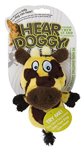 Hear Doggy! Mini Flattie Giraffe with Chew Guard Technology Plush Silent Squeak Dog Toy