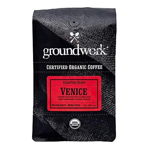 Groundwork Organic Whole Bean Medium Roast Coffee, Venice Blend, 12 Ounce Bag