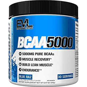 Evlution Nutrition BCAA5000 Powder 5 Grams of Branched Chain Amino Acids  BCAAs  Essential for Performance Recovery Endurance Muscle Building Keto Friendly No Sugar  30 Servings Blue Raz