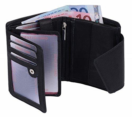 Ladies Wallet with outside lock RFID Blocking LEAS, Genuine Leather, black - ''LEAS Ladies-Collection''