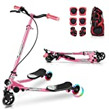 WOOKRAYS Y Flicker Scooter, Swing Wiggle Scooter 3 Wheels Kids Drifting Scooter with LED Lights, Foldable & Height-Adjustable Scooter with 6 in 1 Protective Gear Set for Boys and Girls Age 5+ Years