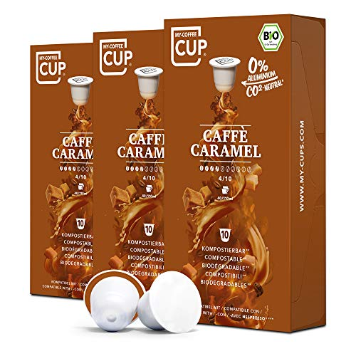 My-CoffeeCup – CAFFÈ CARAMEL – BIO-KAFFEE 3 PACKUNGEN I 30 Kaffeekapseln für Nespresso®*-Kapselmaschinen I 100% industriell kompostierbare Kaffeekapseln – 0% Alu I Nachhaltige Kaffeekapseln