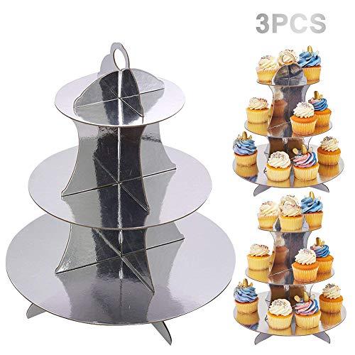 JINLE 3 Stück Silber Tortenständer aus Karton, 3 Etagen Servierständer Muffinständer Cupcake Ständer für Geburtstag Party, Kaffeetafel, Hochzeit, Babypartys - Wiederverwendbar Etagere