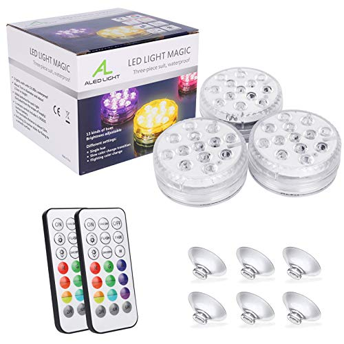 Luz LED subacuática, ALED LIGHT Actualización de 3 paquetes de 13 LED RGB Luces LED impermeables...