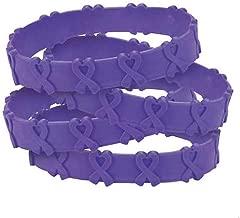 100 Purple Pop-Out Bracelets Pancreatic, Thyroid, Testicular Cancer, Alzheimer's, Animal Abuse Crohn's Disease, Cystic Fibrosis, Lupus, Fibromyalgia, Domestic Violence