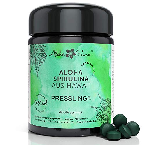 Aloha Sana | Hawaii Spirulina Presslinge im Ultraviolettglas | 400 Presslinge Hawaii Pacifica Algen a 400mg | Laborgeprüfte Spirulina Tabletten | Made in Germany