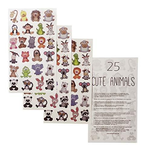 1 x Tier-Kinder Tattoo Bogen - 25 temporary Tiny Cute Animals Tattoo Sticker - Kinder Geburtstag Party (1)