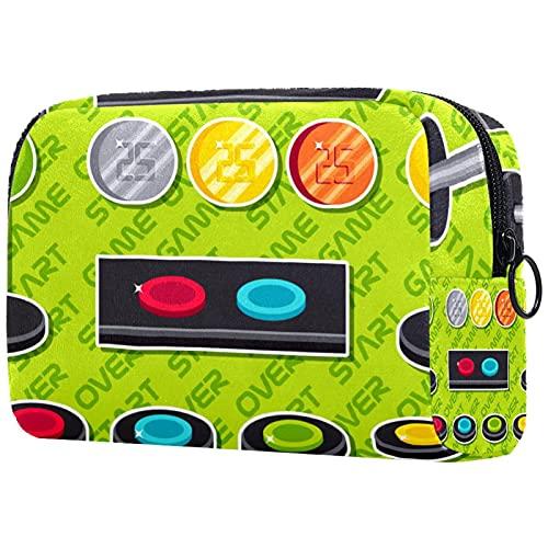 Borsa per il trucco delle donne, borsa per cosmetici Elementi del bottone arcade per viaggi, organizzatore di cosmetici