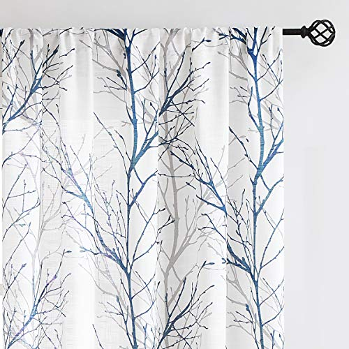"Fmfunctex Blue White Sheer Curtains 84"" for Living Room Privacy Grey Tree Branch Print Curtain for Bedroom Linen Textured Country Curtain Set Modern Semi-Sheer Window Drapes Rod Pocket, 2 Panels"