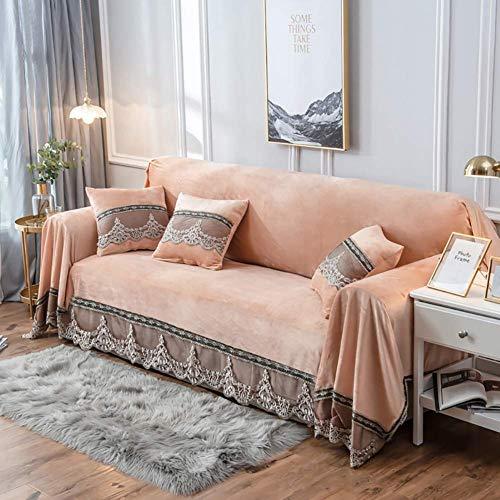 Funda de sofá de felpa Funda de sofá de gamuza de encaje vintage Funda antideslizante de color sólido Funda de sofá antipolvo Protector de muebles a prueba de manchas para mascotas, perros y niños