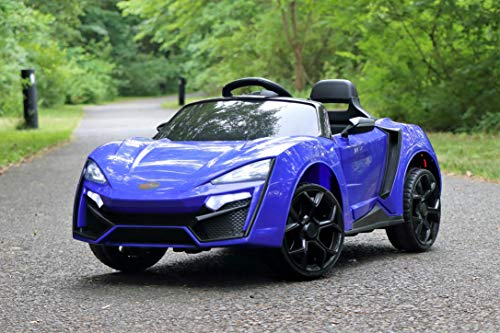 First Drive Lykan Hypersport Style Ride On Electric Car - Blue 12v Power Motorized Kids Cars - Dual Motors, Bluetooth, Music, Early Education, Story Mode, LED Lights, Remote Control (RC)