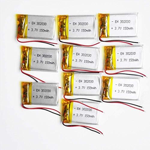 Batería de Respaldo de Alto Rendimiento 10 Piezas 3.7V 150mAh Batería Recargable de polímero de Litio LiPo 302030 para MP3 MP4 GPS PSP Altavoz Bluetooth DVD Vedio