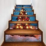 MIANCY-Goods 6pcs / Set 3D Auto-adhésives Arbre de Noël d'escalier Riser Autocollants, Amovible...