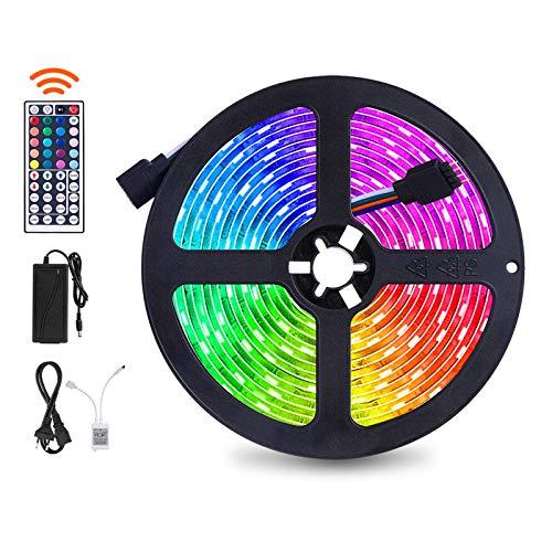 SUNNEST led striscia 5050 RGB con Telecomando a 44 Tasti Autoadesiva LED Strisce per Decorazioni, Cucina, Bar, Festa, Natale