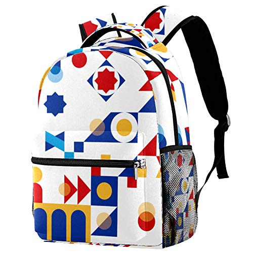 Blue Abstract Geometry Personalised School Bag for Boys and Girls - Kids School Backpack - Childrens rucksacks for Boys and Girls