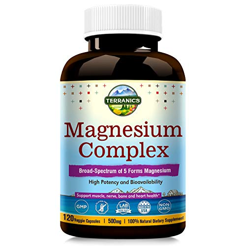 Terranics Magnesium Complex, 500mg, 120 Veg Capsules Chelated for Max Absorption, Support Sleep Stress & Anxiety Relief, Muscle Relaxation Recovery