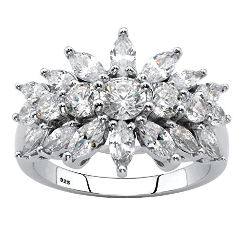 Sterling Silver Marquise Cut Cubic Zirconia Starburst Cluster Cocktail Ring Size 7
