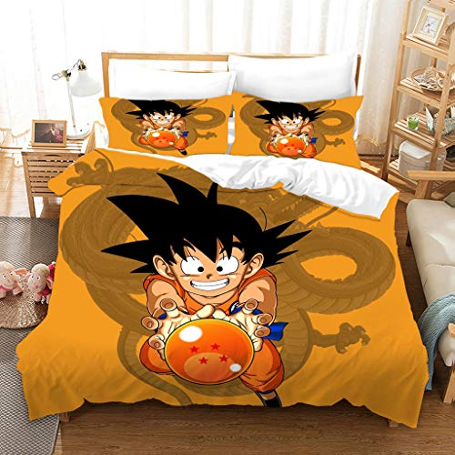 Probuk Dragon Ball Anime - Juego de ropa de cama (funda nórdica y funda de almohada, microfibra, cremallera, 10,200 x 200 cm (50 x 75 cm)