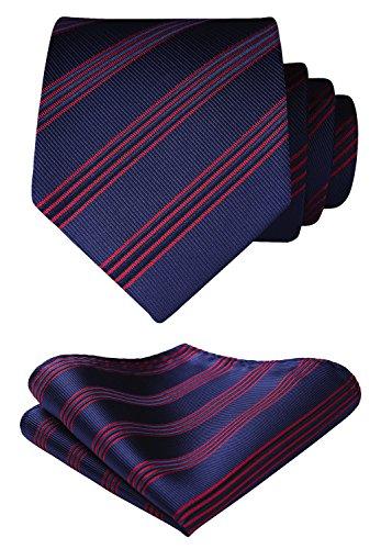 BIYINI Herren Gestreifte Krawatte Taschentuch Woven Jacquard Klassisch Manner Krawatte & Einstecktuch Set
