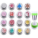 Gejoy 16 Pieces Russian Piping Tips Christmas Cake Icing Frosting Nozzle with Coupler for Cupcake...