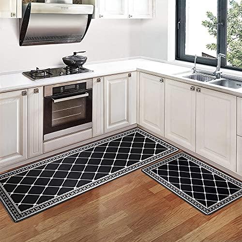 Pauwer 2 pièces Ensemble de Tapis de Cuisine Anti-Fatigue Tapis de Sol de Cuisine en PVC Comfort Tapis de Sol imperméables pour Bureau à Domicile (44x70+44x120cm, Noir)
