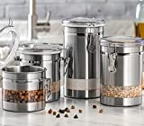 Le'raze Airtight Food Storage Container for Kitchen Counter with Window, Canister Set Ideal for Flour Tea, Sugar, Coffee, Candy, Cookie Jar with Clear Acrylic Lids & Locking Clamp