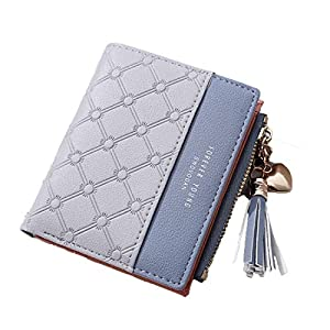 Syga PU Leather Zipper Wallet for Women, Grey - Abstract Pattern