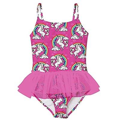 swimsobo 5T Swimsuit Girls Bathing Suits One Piece Bikini Cloud Rainbow Unicorn Printed Sunsuit Adjustable Shoulder Strap Halter Quick Dry Ruffle Tulle Swimwear Size 5 6