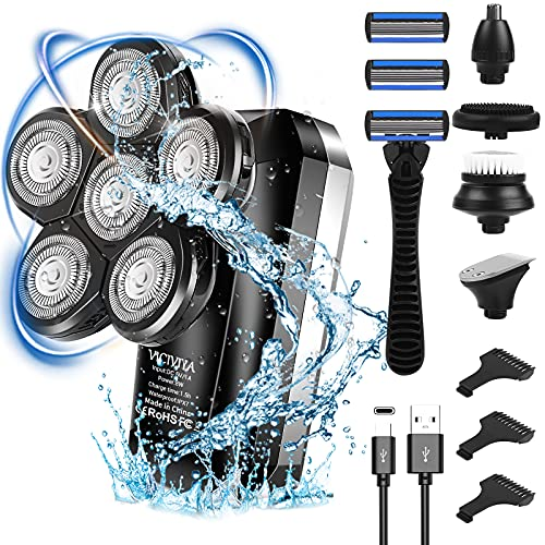 Bald Head Shavers for Men,VICIVIYA IPX7 Waterproof Mens Head Shaver with LCD Display, Upgrade 6D Head Electric Shavers for Men Type-C Rechargeable, 5-in-1 Grooming Kit for Men with Manual Shaver