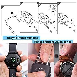Yeejok 20mm Quick Release Pin Bars Watch Accessories, for Garmin Vivoactive 3 / Forerunner 645 Music/Gear S2, Samsung Galaxy 3 41mm 42mm / Galaxy Watch Active 40mm Smart Watch