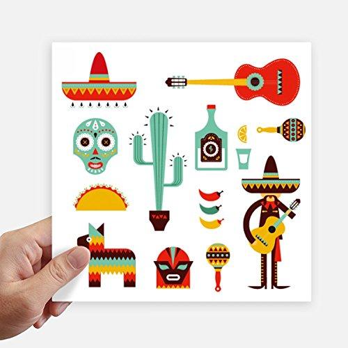 DIYthinker Sombrero del Tequila Guitarra Chile México Elment Square Stickers 20cm Pared Maleta portátil Motobike Decal 4 Piezas 20cm x 20cm