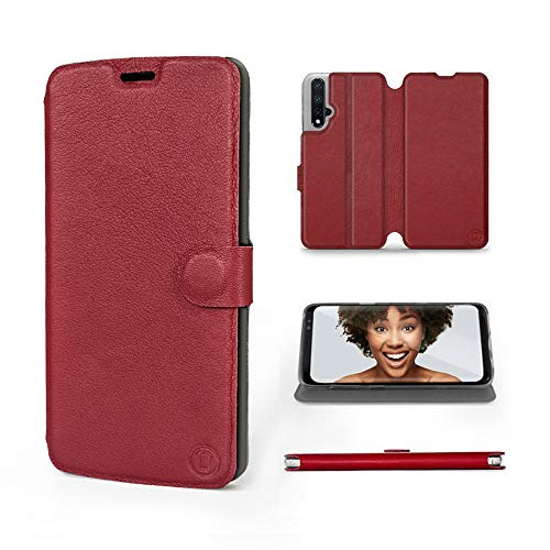 Mobiwear | Echt Lederhülle | Kompatibel mit Huawei Nova 5T, Made in EU handyhülle, Slim Leather Hülle, Premium Flip Schutzhülle, Transparent TPU Silicon, Book Style, Tasche - Dunkelrotes Leder
