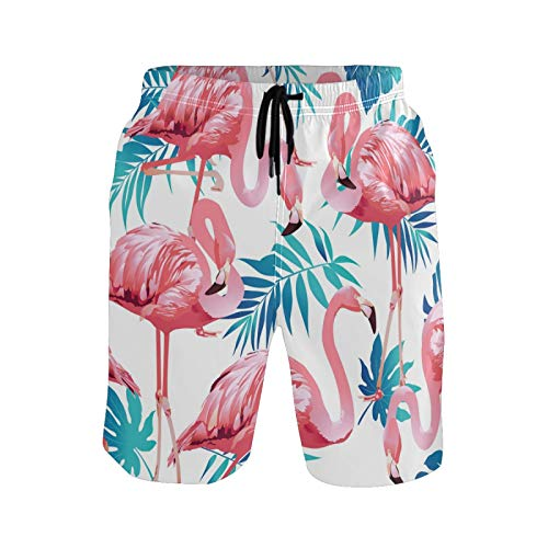 Ahomy Pantalones cortos de secado rápido para hombre, diseño de flamencos, pájaros y flores tropicales, con forro de malla