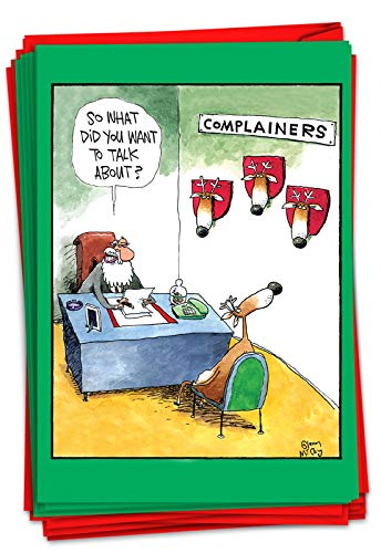 NobleWorks - 12 Boxed Merry Christmas Cards Bulk - Funny Cartoon Happy Holiday Stationery, Hilarious Notecard Set (1 Design, 12 Cards) - Complainers B1540