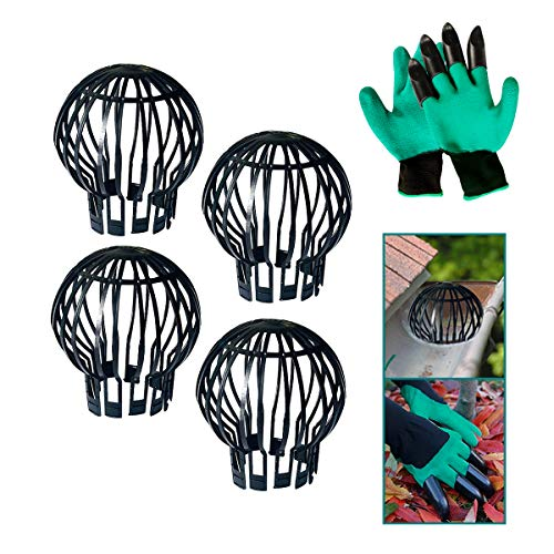 Daisypower 4 Pack Gutter Guard Down Pipe Balloon Leaf Filter Strainer, Downspout Guards Gutters Cover & Rain Protector with 1 Pair of Gloves