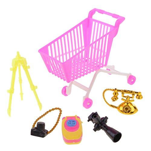 Hellery 5 Uds Teléfono de Carro de Supermercado para Muñecas Kelly 1/6, de Acción, Accesorios de Compras