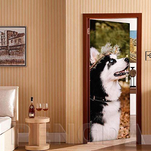 Deurfolie 3D Deurfolie 3D Deur Sticker Diy Home Decor Dier Wolf Print Foto Decals Zelfklevend Behang Waterdicht Muurschildering Voor Slaapkamer Renovatie-As_Shown_77X200Cm