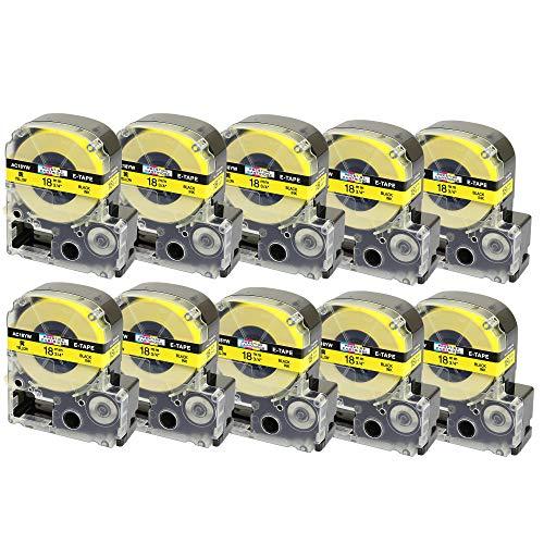 10 x Schriftband-Kassetten SC18YW LC-5YBW LC-5YBW9 schwarz auf gelb (18mm x 8m) kompatibel für Epson LabelWorks LW-300 LW-300L LW-400 LW-500 LW-600P LW-700 LW-900P LW-1000P King Jim Tepra Pro