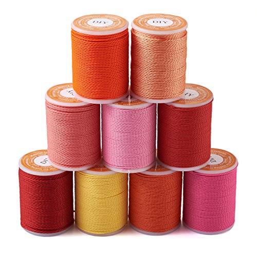 Beadthoven - Cordones de poliéster encerado de 1 mm, 9 rollos de hilo de macramé para pulsera de hilo artesanal para coser joyas trenzadas, collares, manualidades, 9 colores