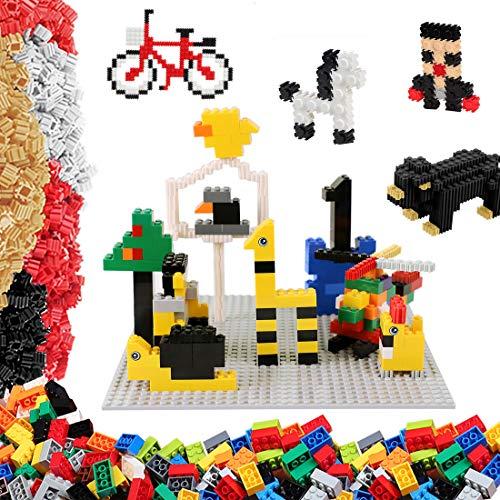 burgkidz Bloques de Construcción Juego de 1045 Piezas, Que Incluye 670 Ladrillos Clásicos, 373 Mini Ladrillos y 2 Placa Base Gris, Juguetes Creativos en 3D para Niños Edad 5 6 7 8 9 10 Años