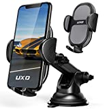 Car Phone Holders, UXD Car Phone Mount, Patented Phone Holders for Car Dashboard/Windshield, Compatible with iPhone 12 Pro Max/Mini 11 Pro Max Xs XR X 8, Galaxy S20+ S20 Note 10 9, Dark Gray
