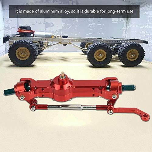 Dilwe RC Getriebe, Aluminiumlegierung Vorderachse für WPL 1/16 Military Truck RC Car Upgrade Part( Rot)