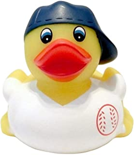 Ad Line Baseball Player Fan Rubber Duck Bath Toy | Sealed Mold Free | Child Safe