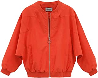 Macondoo Women's Zip Up Outwear Plus Size Bomber Flight Baseball Jacket Coat