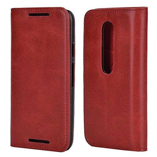 Mulbess Ledertasche im Ständer Book Hülle für Motorola Moto G 3. Generation Tasche Hülle Leder Etui,Wein Rot