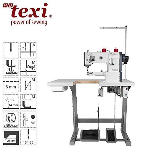 TEXI Máquina de coser industrial, triple transporte – Brazo libre – Máquina de coser industrial – Completo (con mesa y soporte)